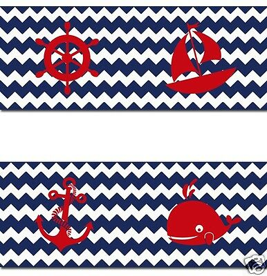 Navy Blue Chevron Nautical Wallpaper Border Wall Decals Baby Boy Nursery Decor