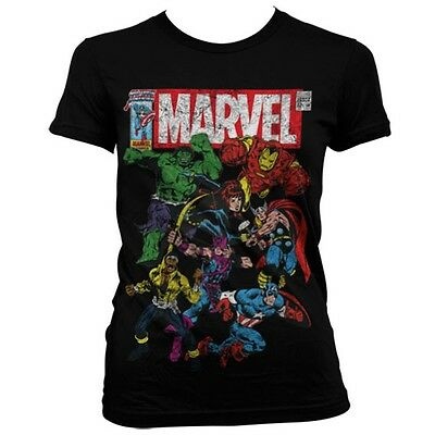 f302ec7b6 Official Womens Ladies Marvel Comics Multi Character Distressed Fitted T -Shirt