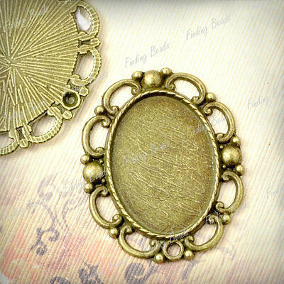 8 Oval Pendants Cabochon Settings Antique Brass TS7411