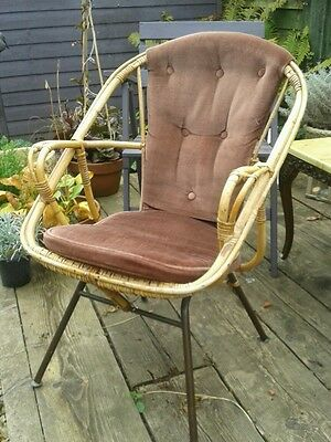 Mid Century wicker & metal chair Retro Chic.