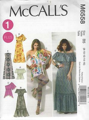 McCALL'S SEWING PATTERN MISSES' / WOMEN'S TOPS & DRESSES SIZES 8 - 24W M6558