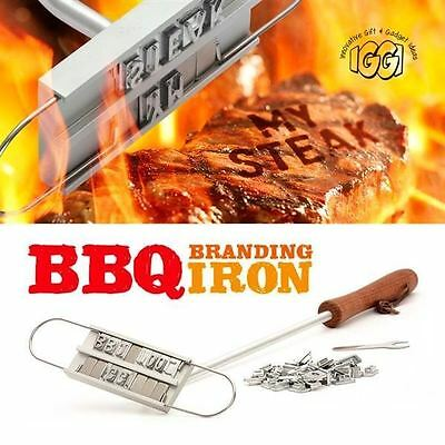 BBQ Branding Iron Personalised Steaks & Burgers Changeable Letters Grill Utensil