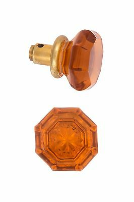 antique reprooduction Amber octagonal glass doorknobs