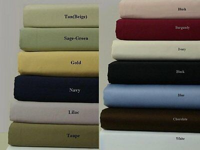 Twin XL 300 Thread Count Solid Bed Sheet Set 100% Cotton