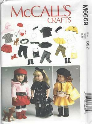 """McCALL'S SEWING PATTERN CRAFTS CLOTHES FOR 18"""" DOLL ACCESSORIES & DOG   M6669"""