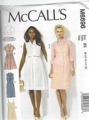 McCALL'S SEWING PATTERN MISSES' DRESSES & SLIP  SIZES 8 - 24 M6696