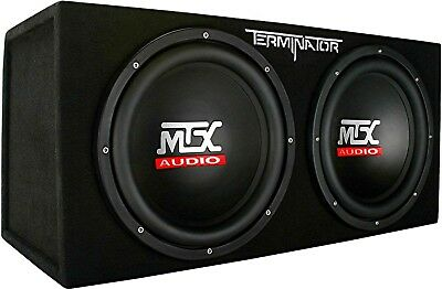 MTX Terminator TNE212D Dual 12 inch 400W RMS 2 Ohm Sealed Loaded Sub Enclosure