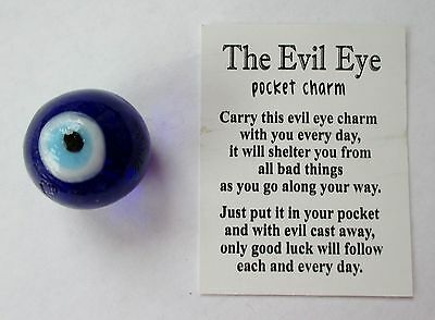 q4 1x THE EVIL EYE POCKET CHARM Glass shelter from bad things protection