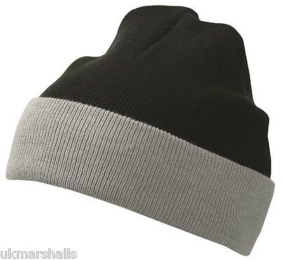 MB Teamwear Knitted Hat warm Winter two tone Beanie - 9 Colours (MB7550)