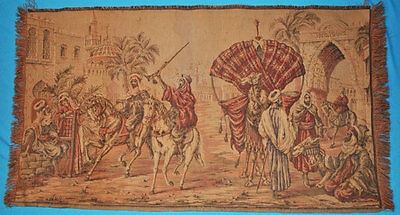 """VINTAGE TAPESTRY WALL HANGING SCENE OF MIDDLE EASTERN GATHERING 35-1/2'' x 19"""""""