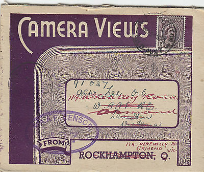 Stamp Australia 1d brown queen 8 view postcard Rockhampton RAAF censor Scafe