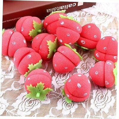 12x Strawberry Balls Hair Care Soft Sponge Rollers Curlers Lovely DIY Tool GO