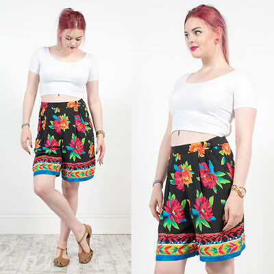 Vintage 90's Nineties Bright Floral Patterned Culottes Shorts Black Abstract 12
