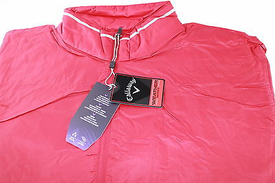 Callaway Weather Series Lightwght 1/4 Cremallera Chaqueta Golf Rojo Turquesa