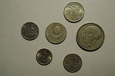 Set of 6 diff. Russia/USSR coins 1970's-2000's circ.