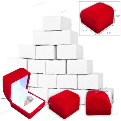 """LOT OF 12 FLOCKED VELOUR RING GIFT BOXES RED RING BOX JEWELRY BOX 1 1/2""""Tall"""