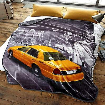 Yellow Cab Luxury Printed Super Soft Fleece Mink Faux Blanket Throw Large