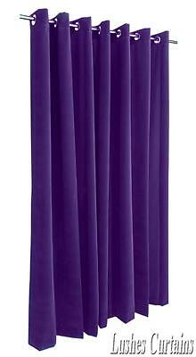 Purple 96 inch Long Velvet Curtain Panel w/Grommet Top Eyelets Window Drapery