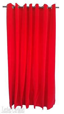Red 108 inch H Velvet Curtain Panel w/Grommet Top Eyelets Window Treatment Drape