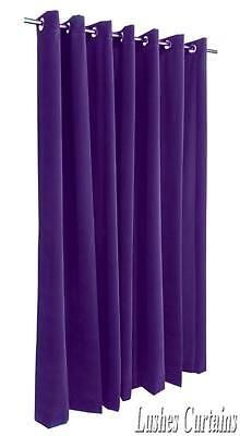 Purple 120 inch H Velvet Curtain Panel w/Anneau Grommet Top Eyelets Window Drape