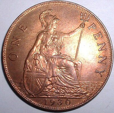 Superb Rare UNC 1930 Britain - One Penny - George V - Very Good Detail - Lustre