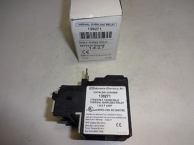 ADVANCE CONTROLS 130271 THERMAL OVERLOAD RELAY 1.8 to 2.7 AMP NIB