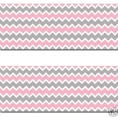 Pink Grey Gray Chevron Wallpaper Border Wall Decals Baby Girl Nursery Room Decor