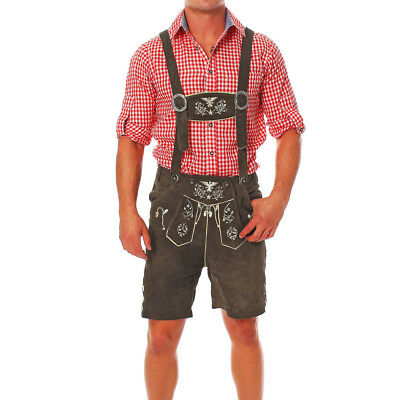 Engelleiter Men's Traditional Costume Eagle Leather Shorts with Smartphone Bag