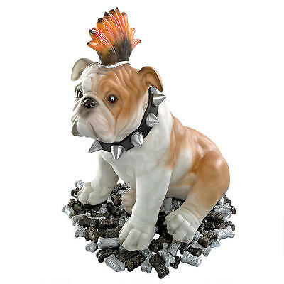Mohawk Punk Rocker Spiked Collar Bulldog Garden Sculpture Statue