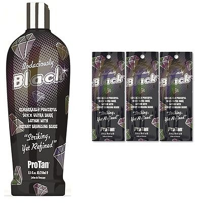 ProTan Bodiciously Black Ultra Dark Tanning BronzerLlotion + Free Sunbed Goggles