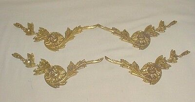 Antique Louis Xiv Bronze Lot 4 Decorative Furniture Flower Appliques Ornaments