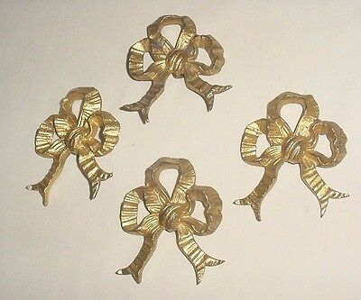 Antiq Bronze Lot 4 Decorative Furniture Bows Ribbons Appliques Ornaments France