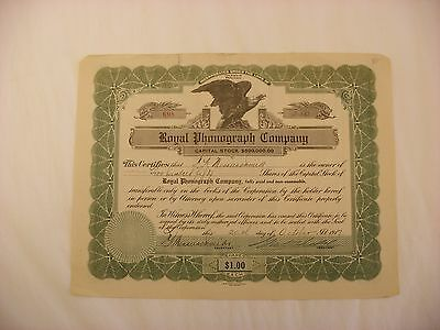 Vintage Stock Certificate - Phonograph - Royal Phonograph Company - 1917