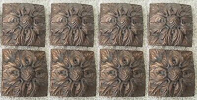 "Set of 4: ANTIQUE DRAPERY CO Bronze Acanthus Square Medallion Resin 4.75"" W"