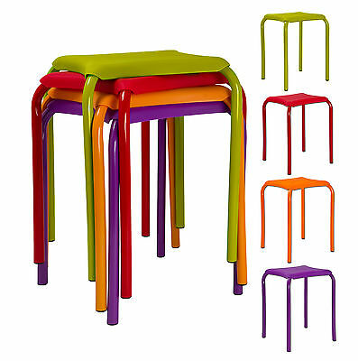 2 x Kids Metal & Plastic Comfortable Sitting Stools Utility Bedroom Eating Chair