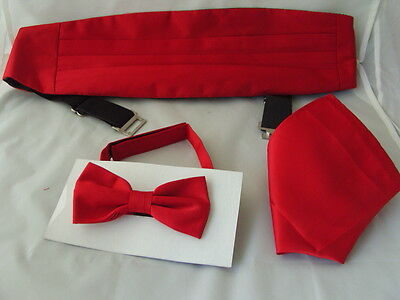 DEAL> RED Polyester Mens Bow Tie + Cummerbund and Hankie Set >P&P 2UK>1st Class