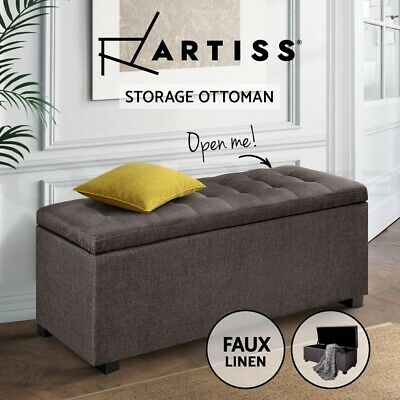 Artiss Blanket Box Storage Ottoman Linen Fabric Foot Stool Chest Toy Bed Brown