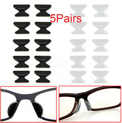 Eyeglass Sunglass 5 Pair Glasses Spectacles Anti-Slip Silicone Stick On Nose Pad
