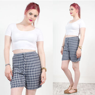 Vintage 90's Nineties Grunge Blue Check Plaid High Waist Shorts Culottes 10