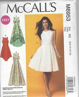 McCALL'S SEWING PATTERN MISSES' DRESSES FITTED BODICE  SIZES 8 - 22 M6953