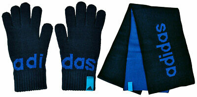 Adidas Performance Linear Gloves Strick Handschuhe oder Schal Winter blau Gr M L