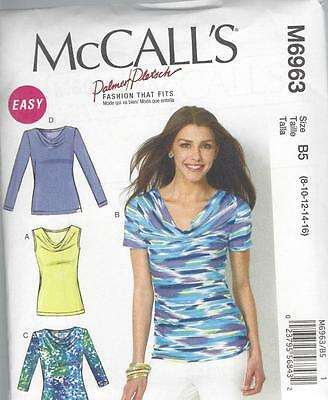 McCALL'S SEWING PATTERN MISSES' CLOSE FITTING TOPS   SIZES 8 - 24 M6963
