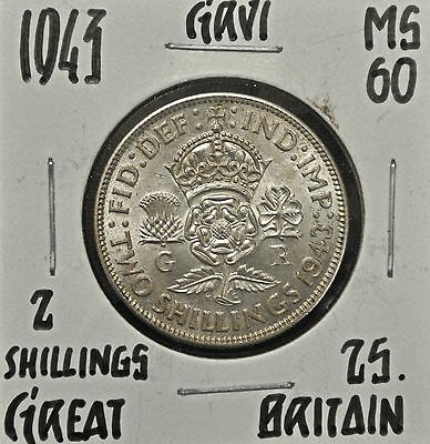 1943 Great Britain Florin MS-60