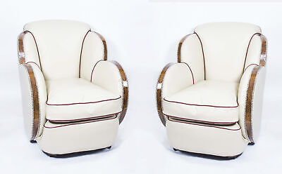 Antique Pair White Leather Art Deco Cloud Armchairs c.1930