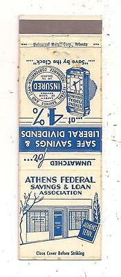Athens Federal Savings & Loan Association Athens TN McMinn County Matchcover