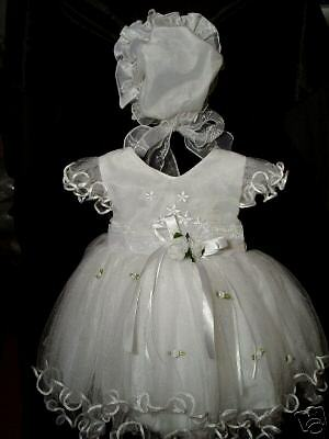 New Baby Girls White Christening Dress 0-3 Months with Bonnet