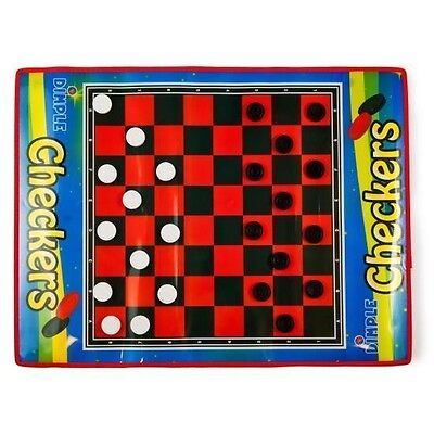 Dimple 2 Player Life Size Checkers Mat/Board with Big Black & White Checker Pcs