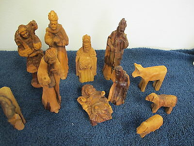 Nativity Figures Wood Hand Carved 11 Pcs With Animals