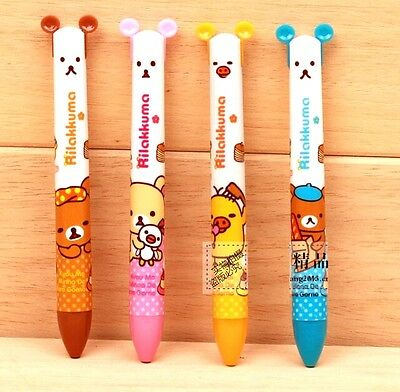 FD3151 San-X Rilakkuma Relax Bear 2 Colors Blue Red Pen Ball Point Pens 2in1 1pc