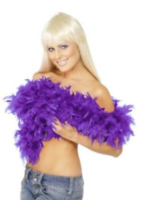 Purple Feather Boa 180cm Long Burlesque Ladies Fancy Dress Accessory